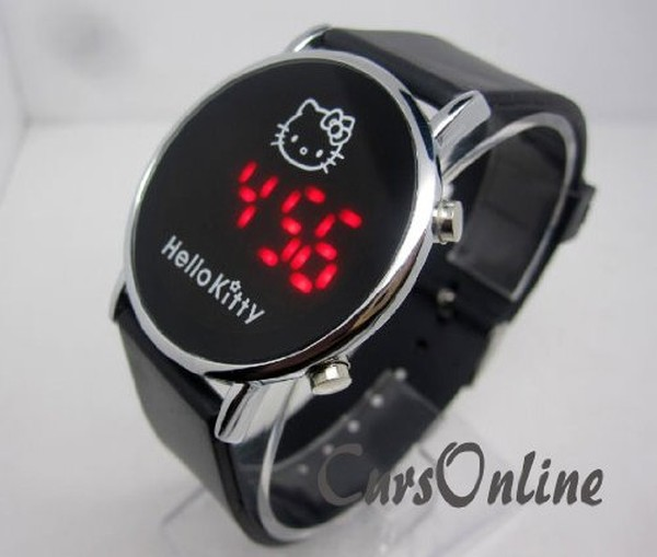 orologio da polso nero hello kitty
